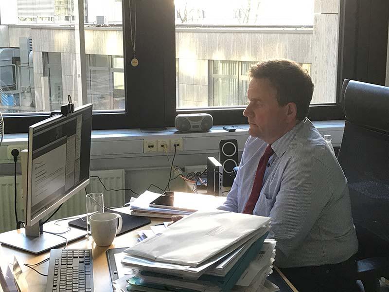 bpt-Geschäftsführer Heiko Färber während des  Webinars